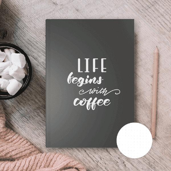 "Punktraster Notizbuch ""Coffee Is Life"" Wonderspot"