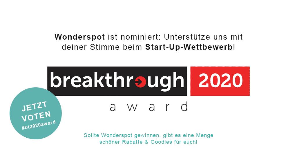 breakthrough 2020 award - Wonderspot