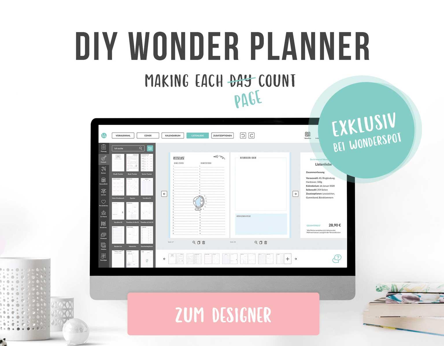 Selbst gestalten: Kalender, Planer, Wonder Planner - Wonderspot